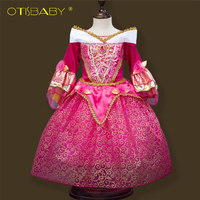 Noble Sleeping Beauty Girl Dress Anna Elsa Cosplay Costume For Party Festival Girls Princess Aurora Dresses