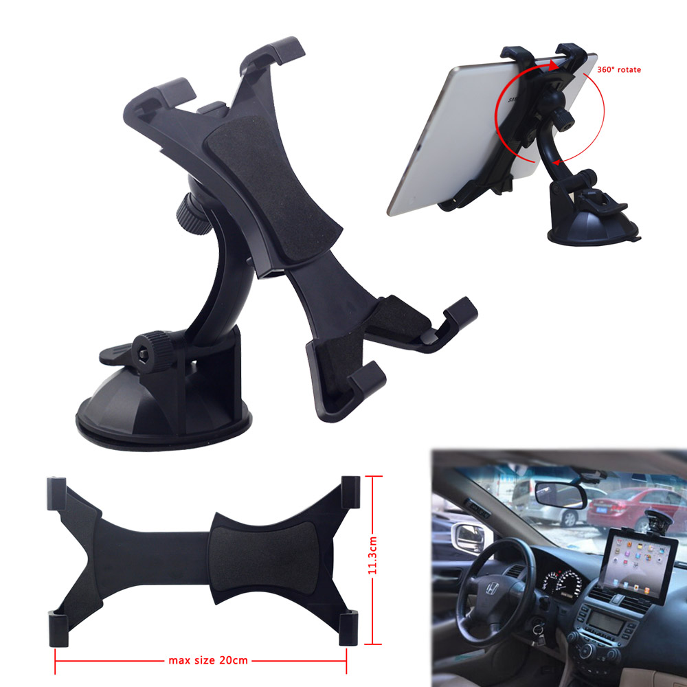 7 to 10 inch Universal Tablet PC Holder Stand For iPad 2 3 4 Air 2 Samsung Tab GPS Car Windshield Mount 360 Rotating Suction Cup