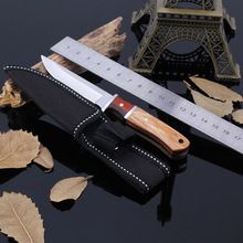 Fixed Blade Tactical Hunting Knife Outdoor Survival Tool Wood Handle Stainless Steel for Camping Hiking Climbing Household
