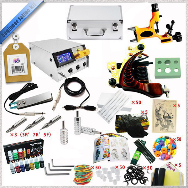 Factory Complete Tattoo Kit 1 Pro Rotary Machine1 cast tattoo Guns7 Inks Power Supply Needle Grips TTKS-032 complete tattoo kit 4 professional tattoo machine kit coil machine guns 54 inks power supply needle grips us warehouse in stock
