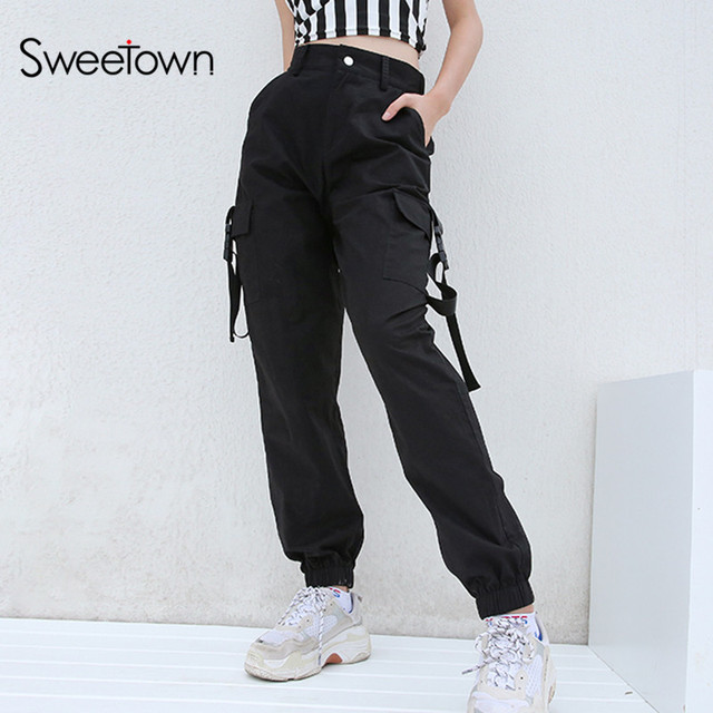 Sweetown Plus Size Harajuku Cargo Pants Women Black High Waist Pantalon  Bomber Femme Street Style Womens Joggers Sweatpants 8955c68919