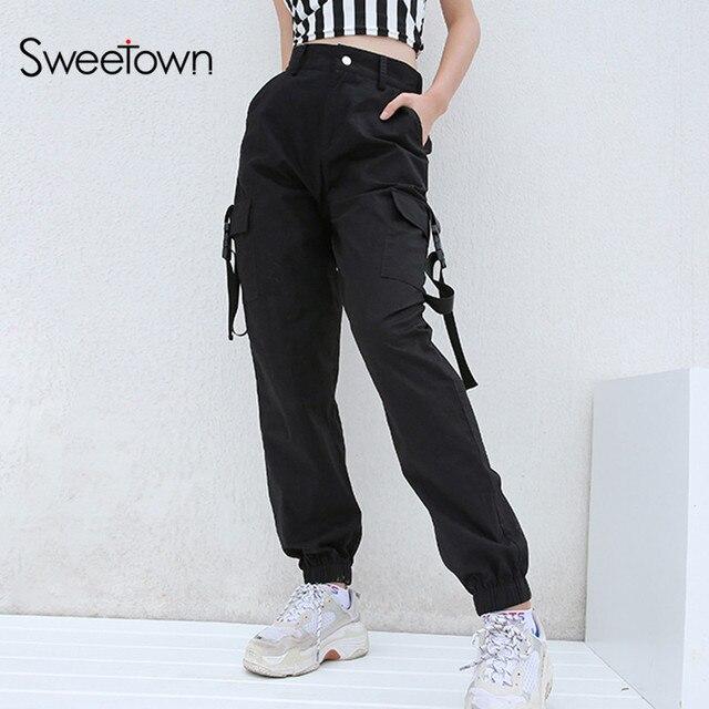 b05f9a1cd9 Sweetown Plus tamaño Harajuku pantalones de negro de las mujeres de cintura  alta
