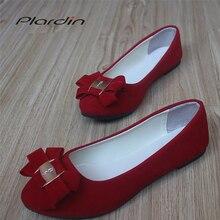 Plardin/ г. Модная женская обувь на плоской подошве из флока, новая летняя повседневная обувь на плоской подошве без шнуровки с круглым носком Классические балетки женская обувь, большие размеры