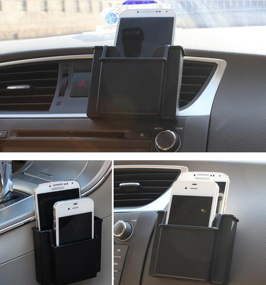 75ff6023fa334 Bolso De Armazenamento De carro Double Deck Furo De Carregamento Do  Telefone Móvel Titular Caixa Organizador