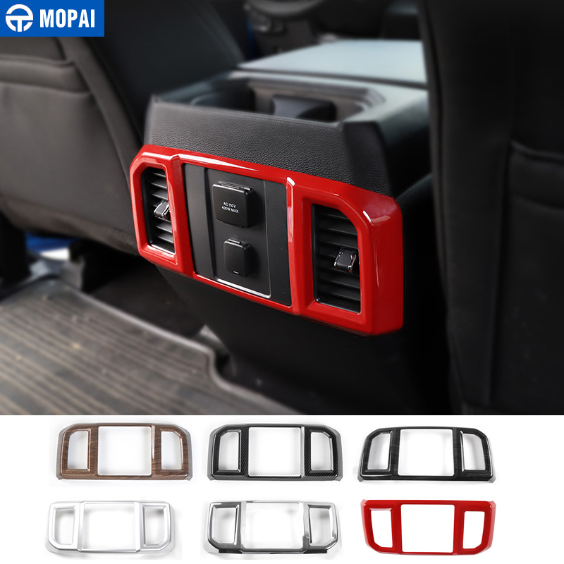 цена на MOPAI ABS Car Interior Armrest Box Rear Air Conditioning Vent Outlet Decoration Cover Sticker for Ford F150 2016 Up Car Styling