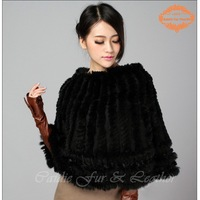 999b4baebcaa19 ... Mode Schlanke Warm Casual Echt pelz. CDS064 2014 Wholesale Stock Rabbit  Fur Kintted Ponchos With Lace Women Winter