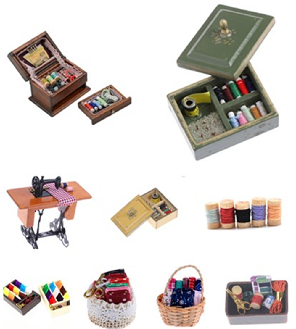 Kids Dollhouse Decor 1:12 Miniature Furniture Wooden Sewing Machine Thread Scissors Accessories For Dolls House Toys For Girls