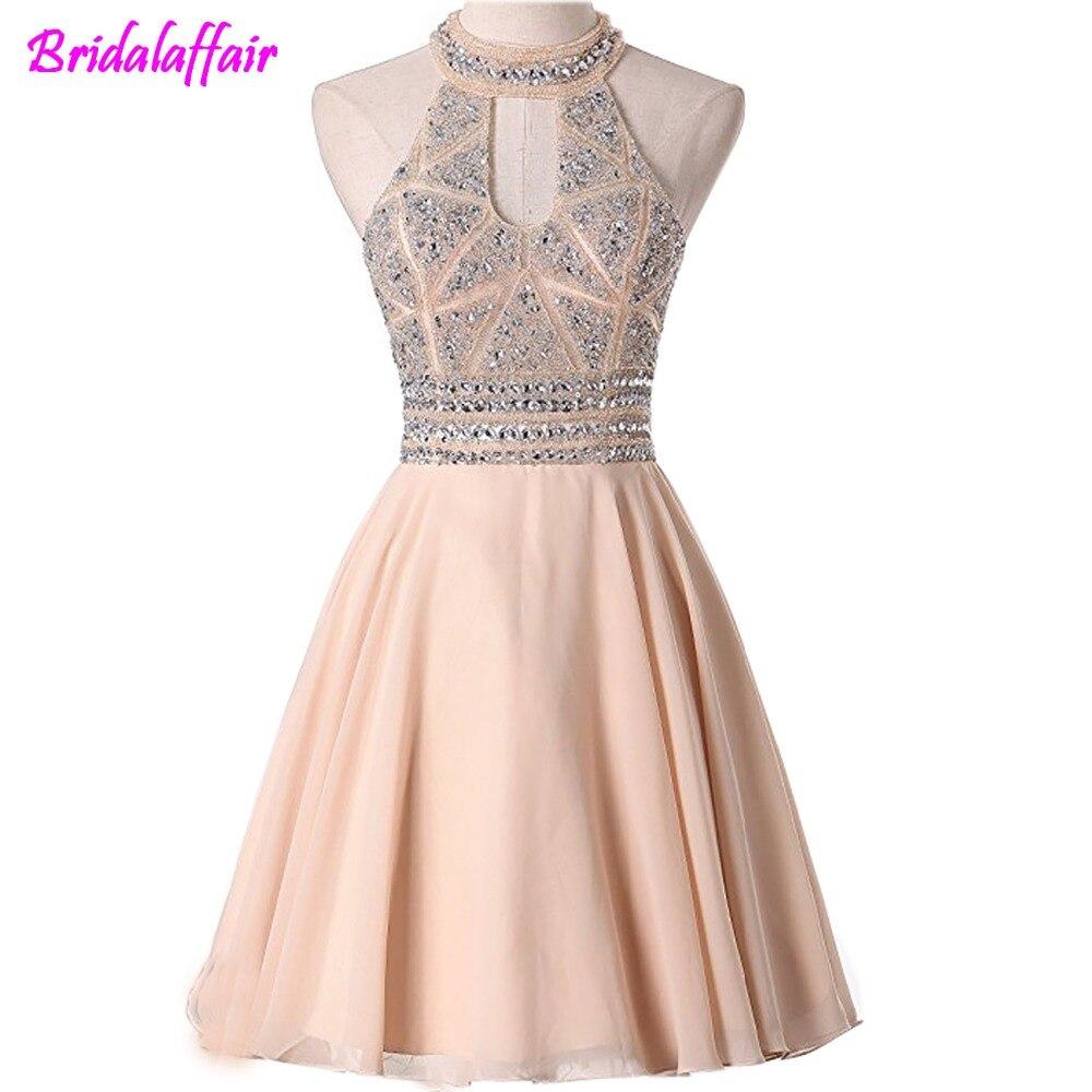 BridalAffair Homecoming Dresses 2018 New A Line Scoop Chiffon Short Prom Dresses vestido de noiva curto graduation dresses