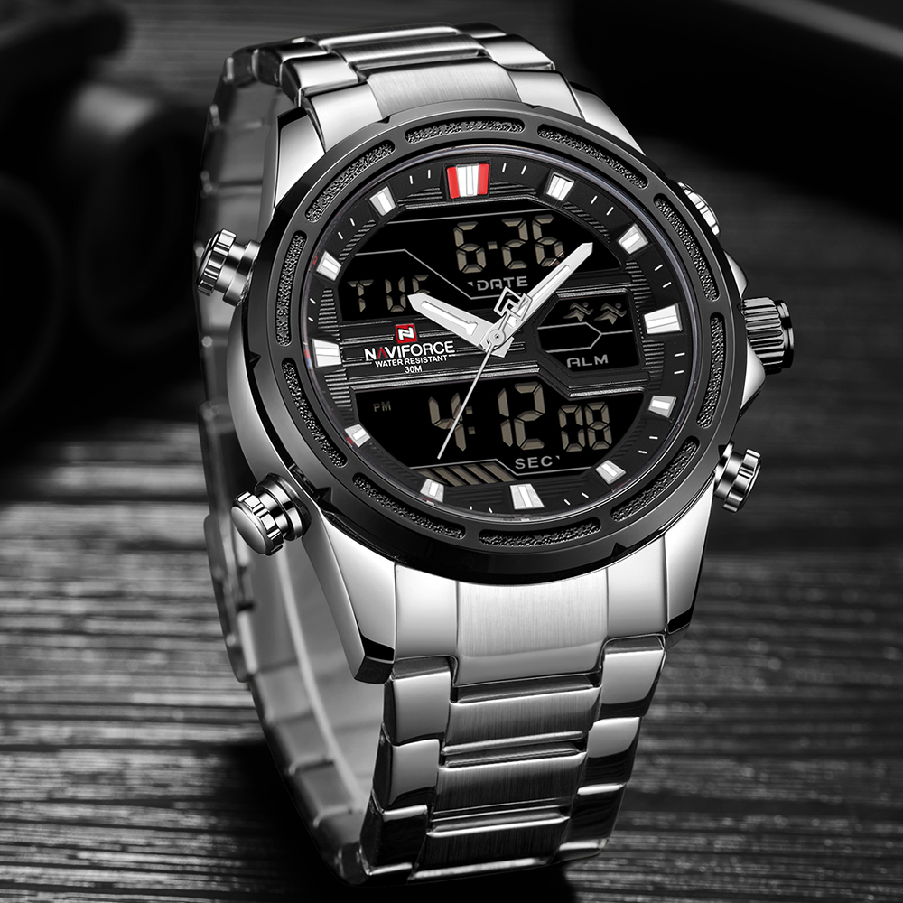 New NAVIFORCE Mens Analog Watch Luxury Fashion Sport Waterproof Quartz Wristwatch All-Steel Male Watches Clock Relogio Masculino цена 2017