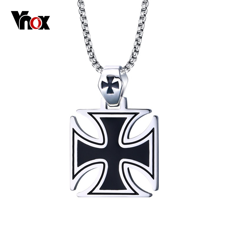 Vnox Mens Corss Necklace Stainless Steel Vintage Maltese Iron Cross Pendant Necklace Knights of the Temple vintage ivory decorated carving stainless steel pendant necklace