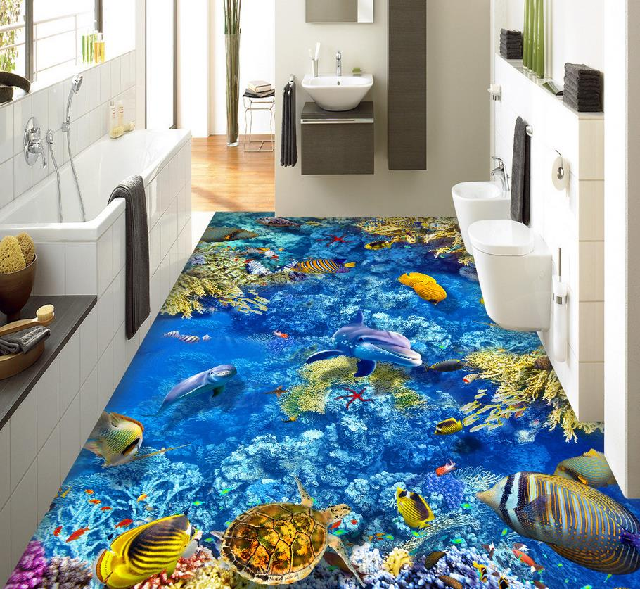 Home decoration underwater world 3 d drawing the floor for Custom mural painting