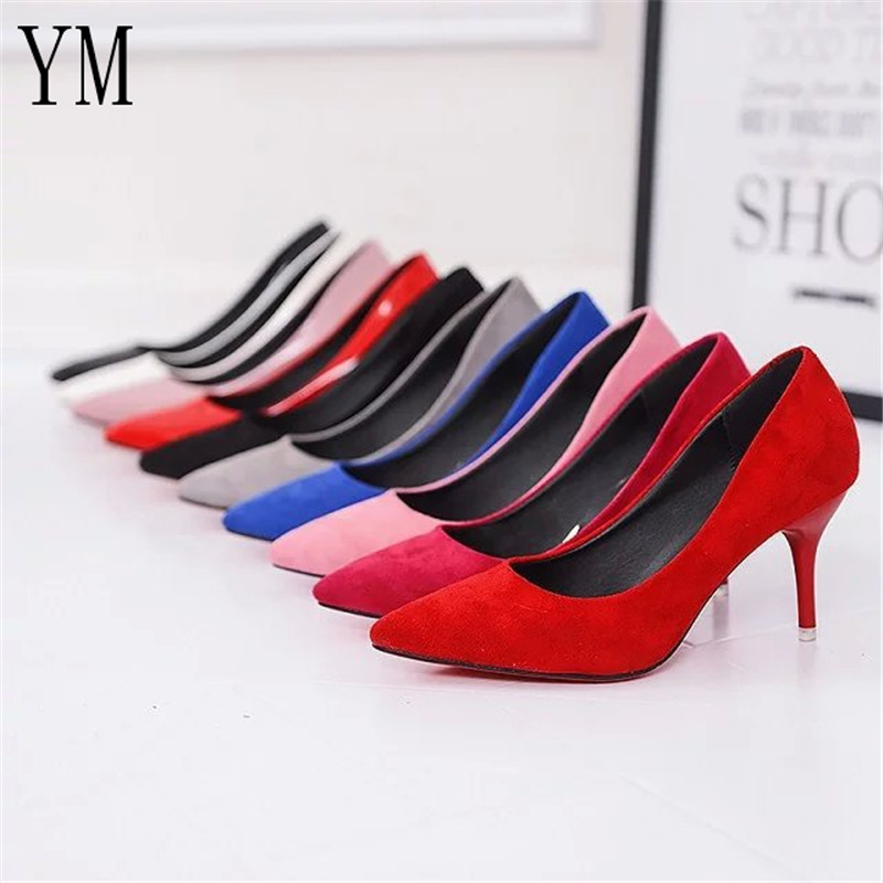 Hot Selling Women Shoes Pointed Toe Pumps Patent Leather Dress Red 8CM High Heels Boat Shoes Shadow Wedding Shoes Zapatos Mujer