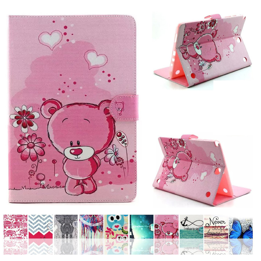 For Samsung Tab A9.7 Cover Cute Cartoon Pattern PU Leather Wallet Funda Tablet Case for Samsung Galaxy Tab A 9.7 SM-T550 SM-T555 kinston beautiful moth pattern pu leather full body case for samsung galaxy s5 deep pink white