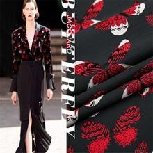 SASKIA 1Meter Brocade Jacquard Fabric Black Yarn Dye Polyester Material Sew Women Dress Coat Clothes Patchwork Zakka DIY