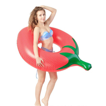 Summer NEW Inflatable Toys 55 Inches Giant Strawberry Swim Ring Pool Floats Beach Toys Floating Bed Party Games 140*100CM Large(China)
