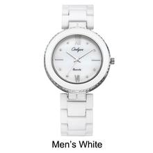 Pulsera de las señoras del reloj de cerámica blanca relojes onlyou marca de lujo hombres mujeres reloj de pulsera reloj de cuarzo rosa de oro femenina 8831