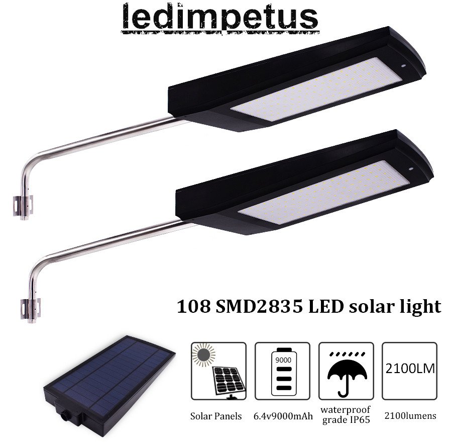 108 LED Solar Street Light Wall Garden Lights 15W Waterproof Super Bright Security Area Night Lighting for Street Garden Path