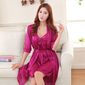 2pc/set Sexy women cool silk summer bathrobe and nightgown satin silk sexy robe pyjamas nightdress plus size free home delivery