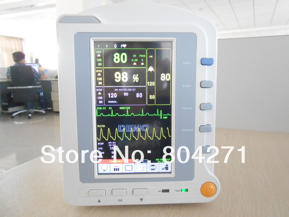 Hot ICU patient monitor Vital signs NIBP SPO2 ECG, PR,RESP,TEMP,Touch screen FDA CMS6500 replacement for vital signs monitor medical twslb 008 hylb 1049 m3 ecg machines battery