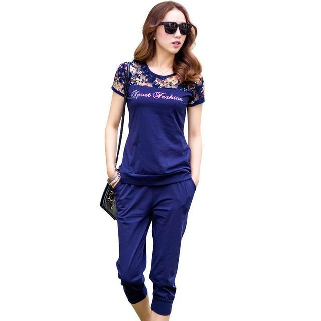 Lace Patchwork Women Fashion SetsLady Clothing Set Large Size M-4XL Summer Women Casual Suits Tops + Pants