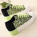 2017 da cópia do leopardo sapatos de lona sapatos meninas sapatos casuais sapatos de plataforma do elevador do sexo feminino para senhora tamanho 35-39