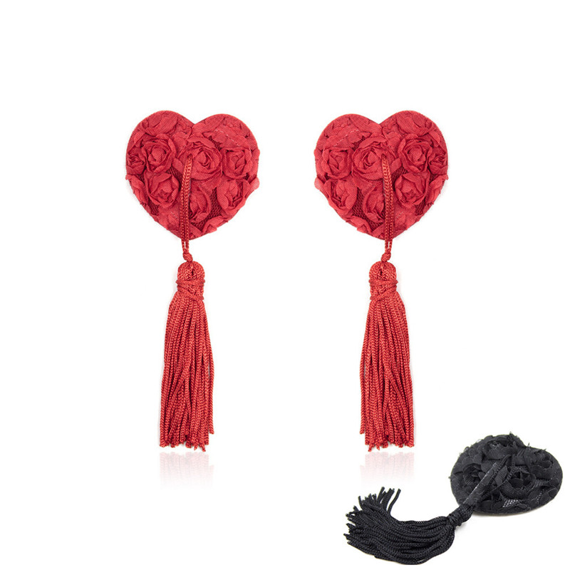 2018 New Heart Shape Sexy Women's Nipple Covers Rose Breast Petals Tassel Pasties Bra Lingeries Red Black