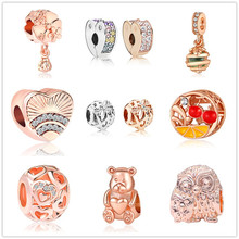Rose gold Silver Charming Owls Colored Arc Love Clip CZ Beads Fits Original Pandora Charms Bracelet for women Jewelry DIY Making(China)