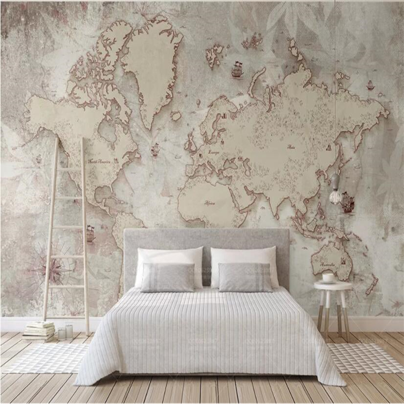 Beibehang Custom Wallpaper Retro Style Old American Nordic World