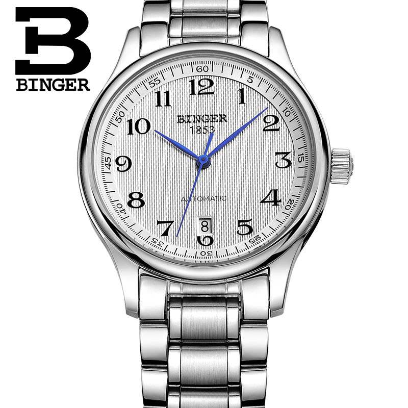 Genuine Luxury BINGER Brand Mens full steel automatic mechanical sapphire watch male business waterproof table GB3 free shipping 2017 luxury men watch automatic mechanical watch multifunction binger famous brand watch gold case white dial full steel strap