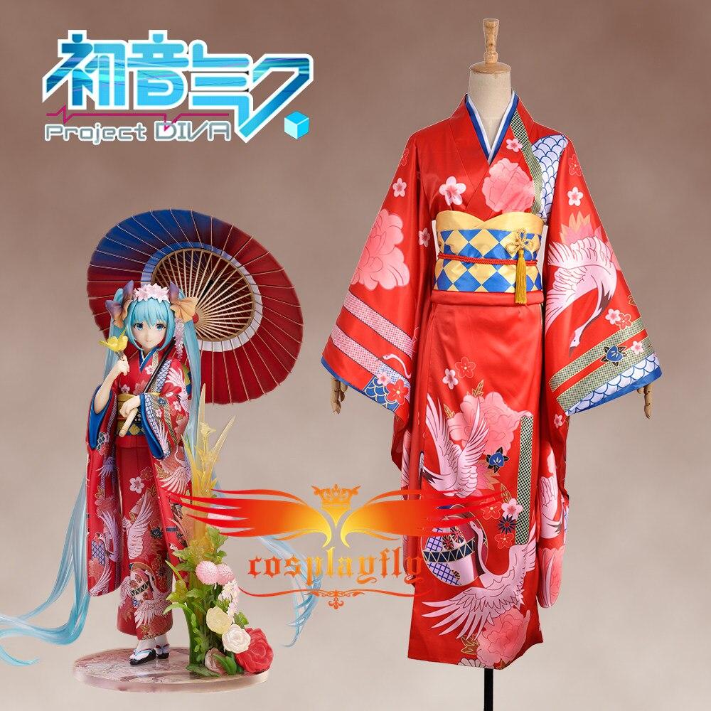 Vocaloid Hatsune Miku Project Diva F Miku Crane Kimono Cosplay Costume Custom Made Adult Women Outfit Sashes Clothing Red Dress