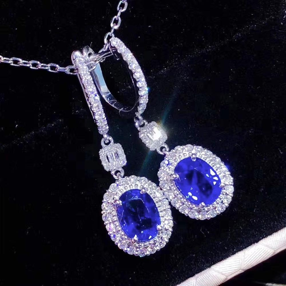 new style Blue sapphire gemstone earrings for women with silver  promotion price