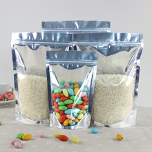 50pcs/lot 24cm*35cm+5cm*200micron Clear + Foil Stand Up Pouch Food Plastic Packaging Bag With Zip Wholesale
