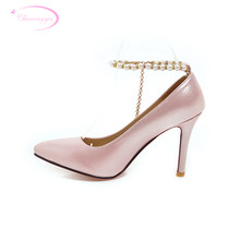 Chainingyee party sexy pointed toe pumps fashion beading belt buckle glitter blue silver pink high heel stiletto women's shoes(China)