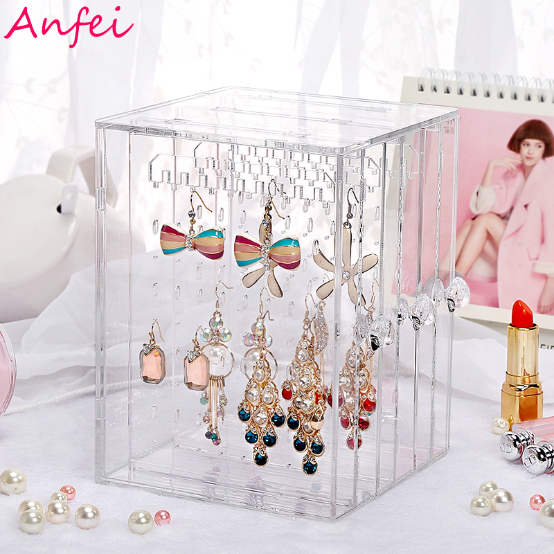 Earrings Box  Earrings Display Acrylic Jewelry Display Box Earrings Organizer Drawer Clear Rings Holder Jewelry Organizer C220