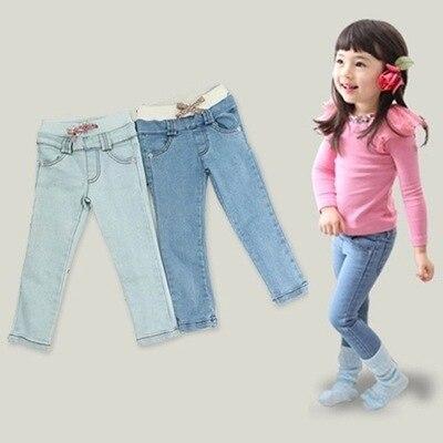 Бесплатная доставка 2016 новое поступление сплошной прямые детей мальчик девочка джинсы штаны, Свободного покроя мода эластичный пояс дети джинсы