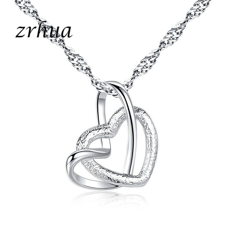 ZRHUA Bulk Collections Pendant Necklace Set Top 925 Sterling Silver Shiny Cubic Zircon Heart Necklace Lady Jewellery Accessories