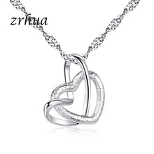 ZRHUA Bulk Collections Pendant Necklace Set Top 925 Sterling Silver Shiny Cubic Zircon Heart Necklace Lady Jewellery Accessories(China)