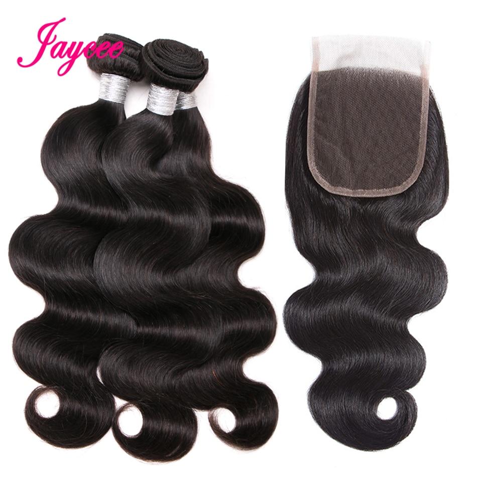 Jaycee Hair Brazilian Body Wave Human Hair Bundles With Closure Total 4Pcs/Lot 3 Bundles Hair Weft And 1 Piece Lace Closure