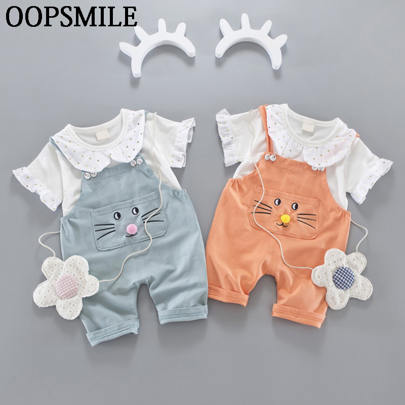 Baby Girls Cartoon Cat Outfit Set Summer Cute Newborn Infant Girl Clothing Suits T-shirt + Overalls Pants Cotton Toddler Set 2017 summer newborn infant baby girls clothing set crown pattern romper bodysuit printed pants outfit 2pcs