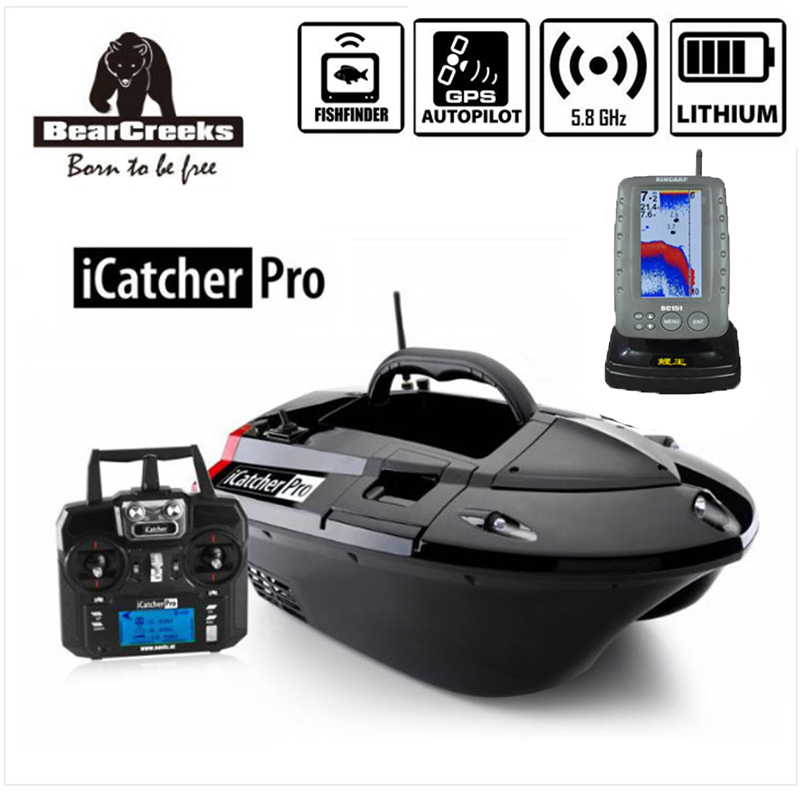 BearCreeks iCatcher Pro V3 Carp Fishing Bait Boat with BC151 Color Fishfinder and GPS Autopilot lithium battery 500M RC