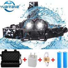 30000 Lumens Led Headlamp 2*T6 Zoomable LED Headlight Head Torch Flashlight Head Lamp Fishing Hunting Light by 2*18650 batteries цена в Москве и Питере