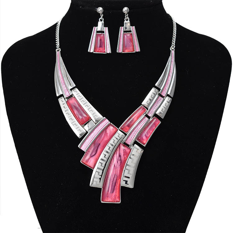 Bridal Silver Collar custome jewelry sets for women creativity necklace earring set