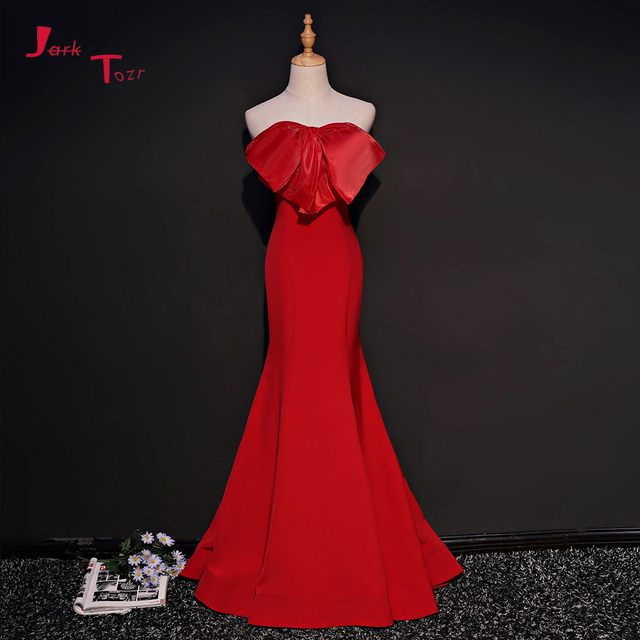 Jark Tozr 2019 New Arrive Lace Up Back Red Satin Mermaid Prom Dress Alibaba China Vestido De Festa Special Occasion Formal Gows