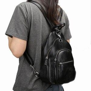 Image 2 - ファッション女性バックパック本革バッグ女の子胸パックスクールバッグ用ティーンエイジャーレディー女性旅行バッグ多機能