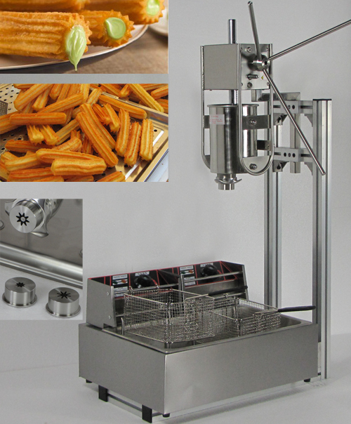 3L Capacity Spainish churros machine maker with 12L Deep Fryer making with three size churros model 12l electric automatic spain churros machine fried bread stick making machines spanish snacks latin fruit maker