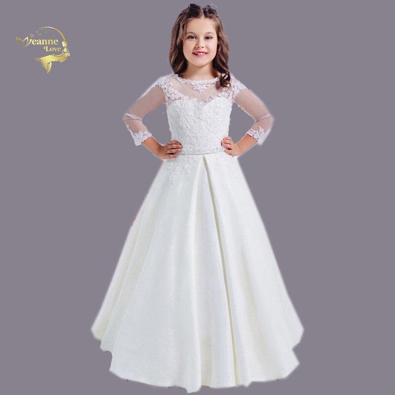 Flower Girls Dresses Lace Sheer Neck Satin A Line Floor Length Long Sleeves First Communion Dresses For Girls Vestidos Longo