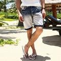 2017 summer new fashion mens short jeans brand Regular Casual Knee Length Short jeans denim shorts for men jeans light blue