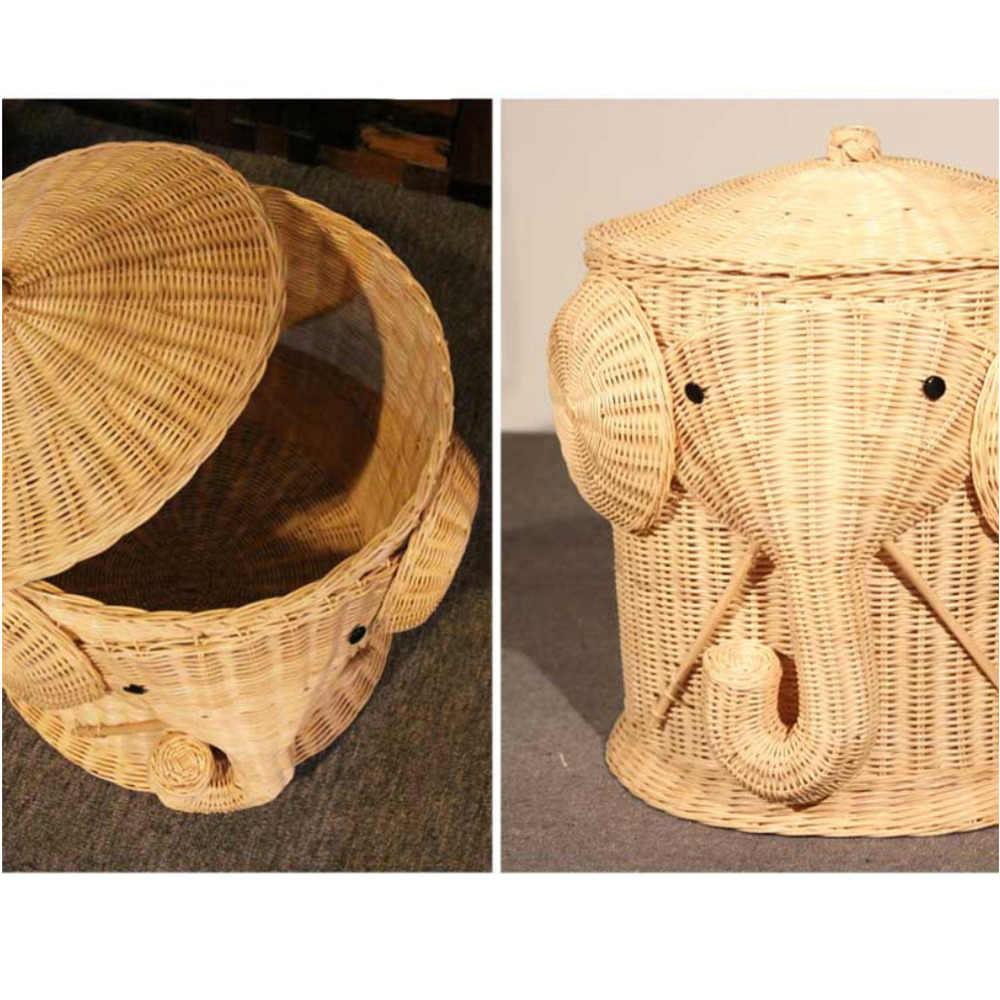 Elefanten Wicker Wäsche Korb Woven Korb Kleidung Bin mit Deckel Baumwolle Große Lagerung Körbe Box für Spielzeug Bad Baby Kid kind