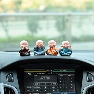 Image 4 - Adornos de coche, 4 unidades/juego de cabezas de Bobble de resina, decoración de muñecas Tomy Monks, Maitreya Buda, regalo de figura, Charms con colgante automático