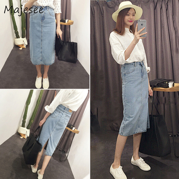 Elegant Korean Style Denim A-line Skirt Solid Color Casual Summer Midi Skirts Women Pockets Daily Womens New Fashion Zipper Chic a-line